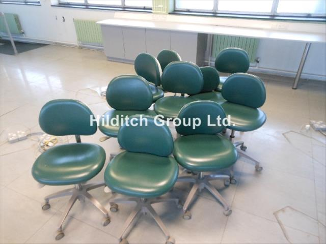 Green Dental Assistant Chairs x 10